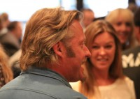 Charley chats to guests at Bremont Boutiques launch for EFUSA
